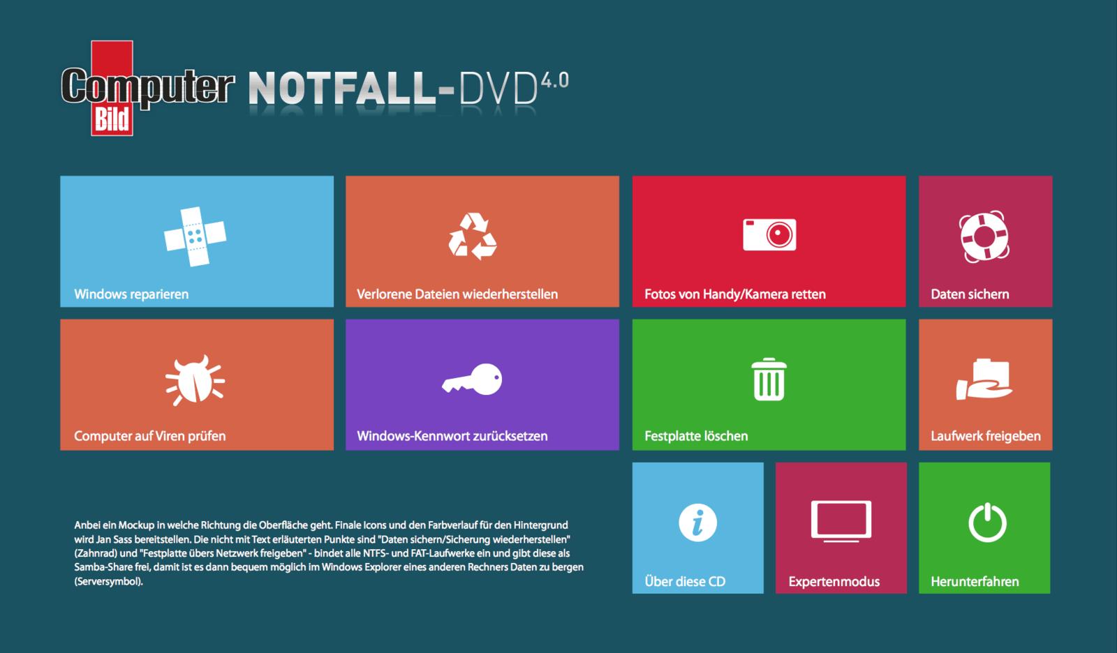 WP8-GUI für ComputerBILD Notfall-DVD 4.0