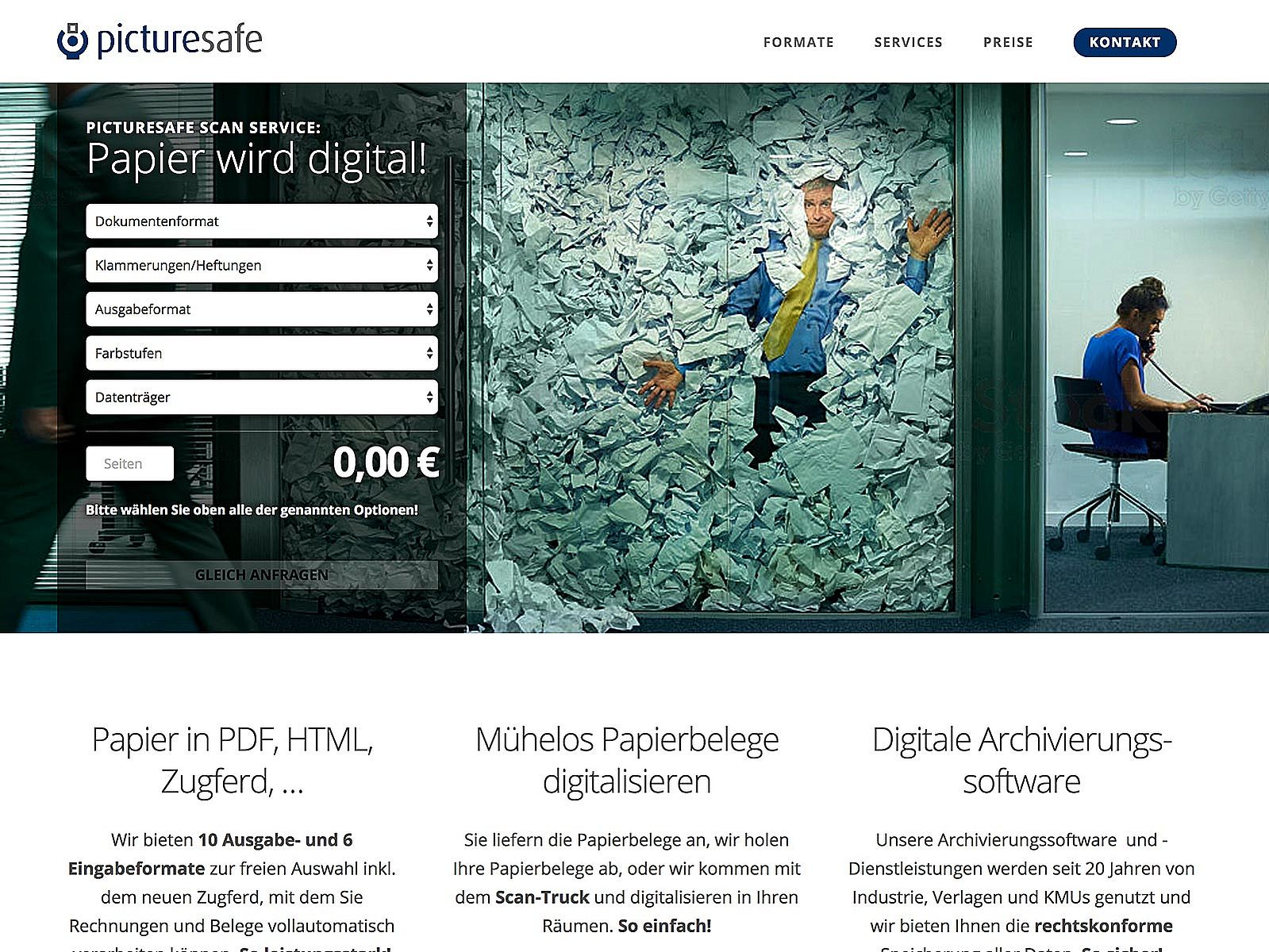 Landingpage und Adwords-Kampagne für high-end-digitalisierung.de der picturesafe