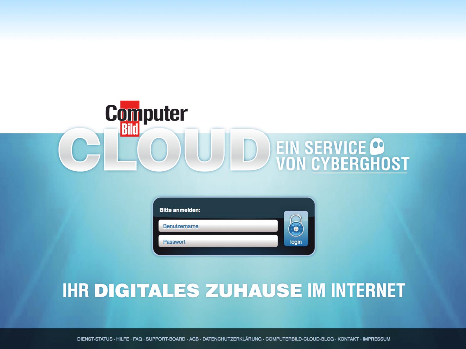 GUI und Web Design für die Computer BILD Cloud BETA