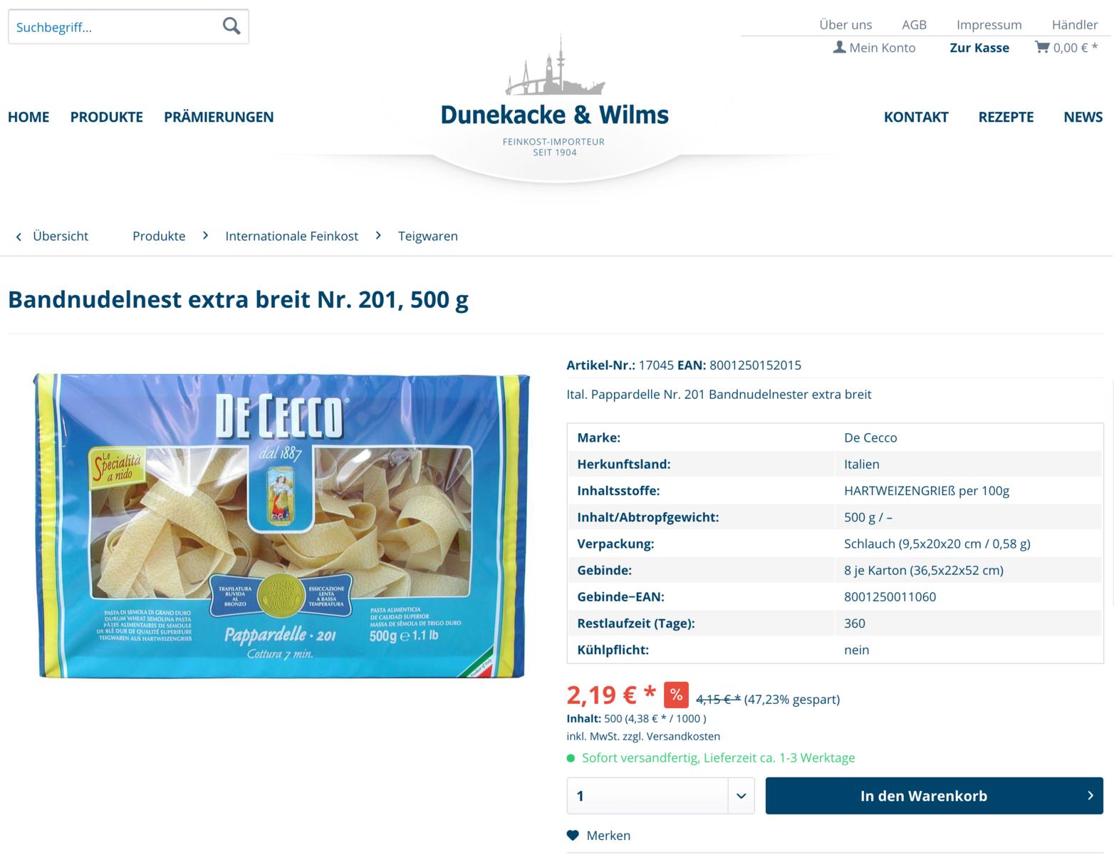All In Online: Express-Webshop für Dunekacke & Wilms, Feinkost Hamburg