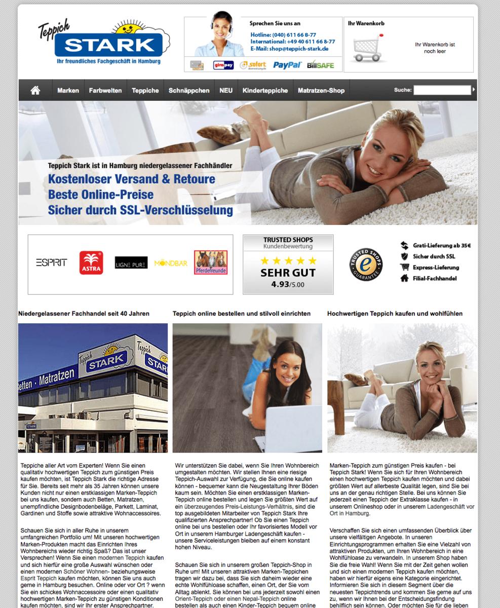 Facelift Online-Shop Teppich Stark GmbH und Co KG