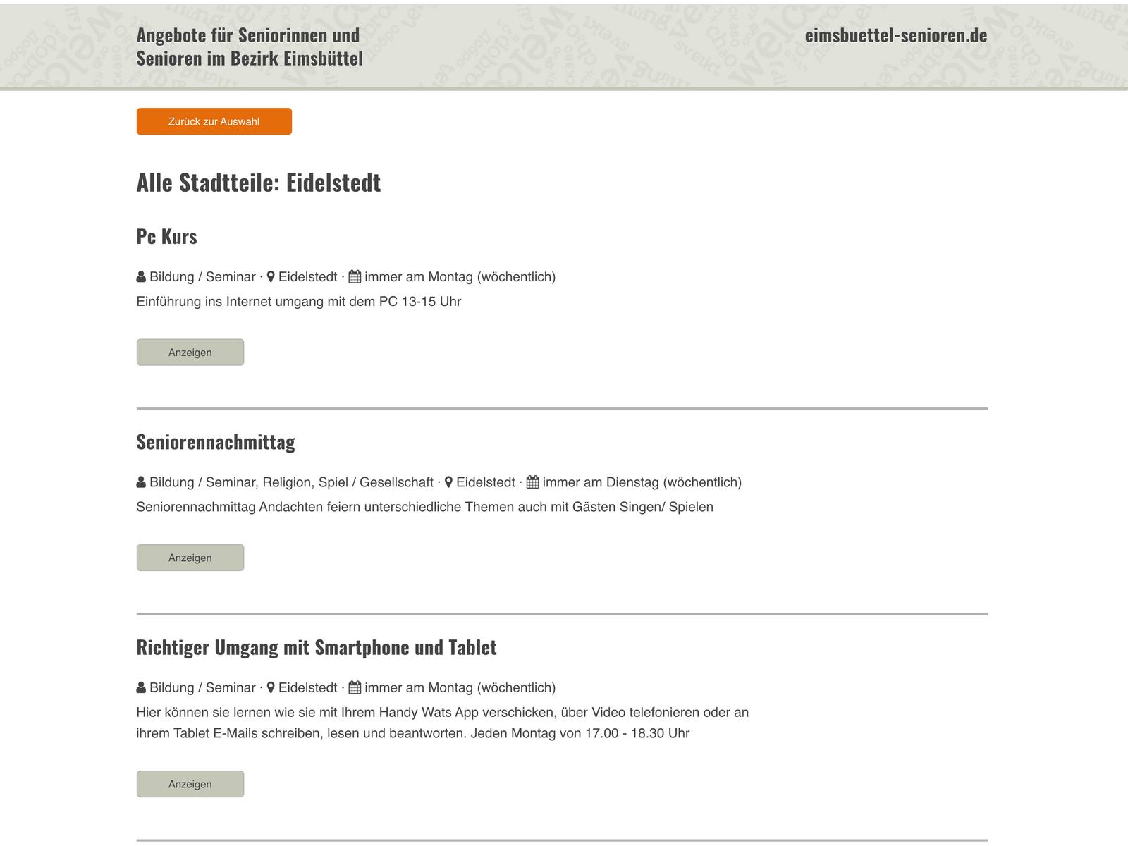 Typo3-Prototyp Veranstaltungs-App Stadt Hamburg Eimsbüttel