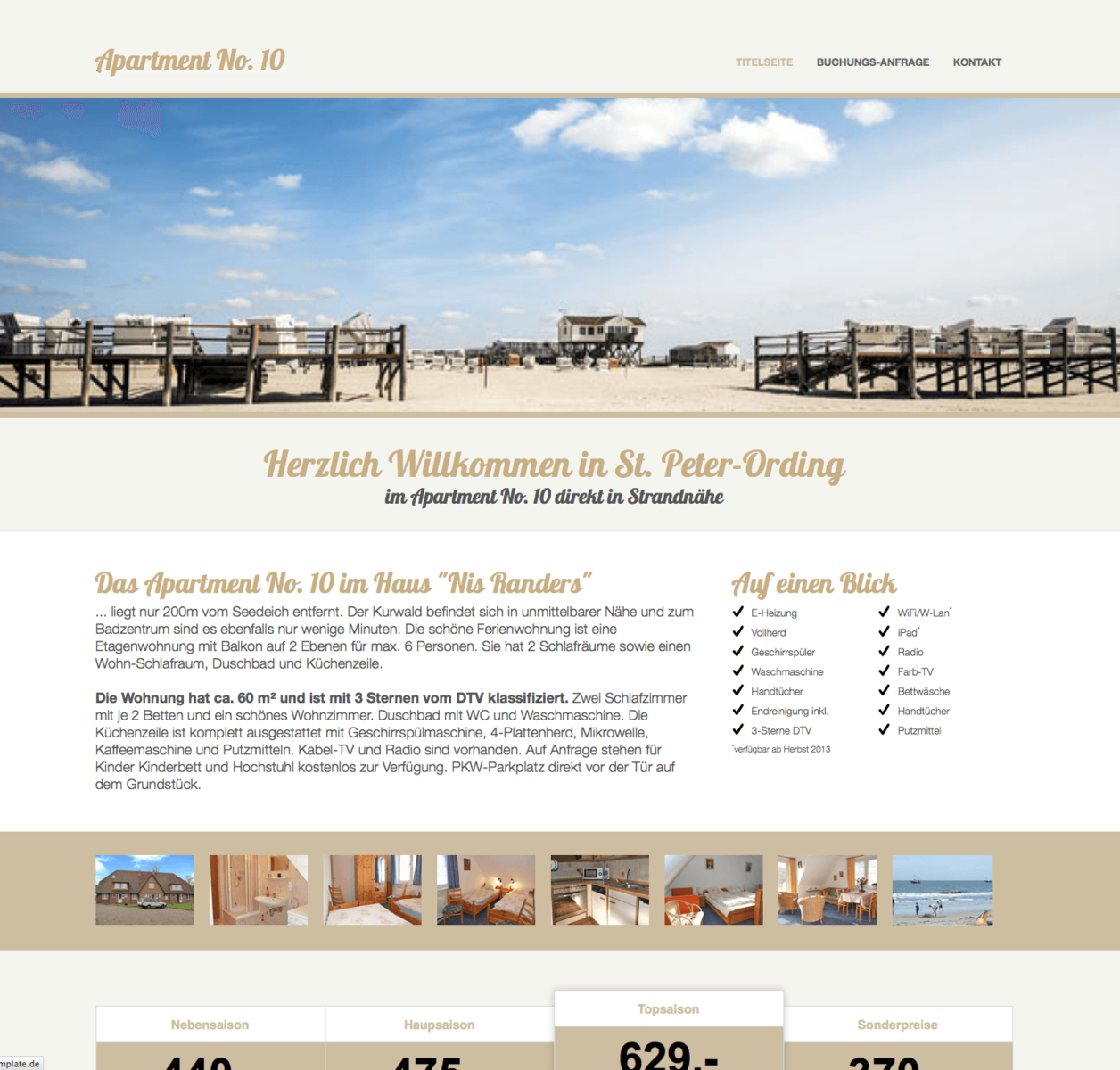 Responsive Website für eine Ferienwohnung in St. Peter-Ording