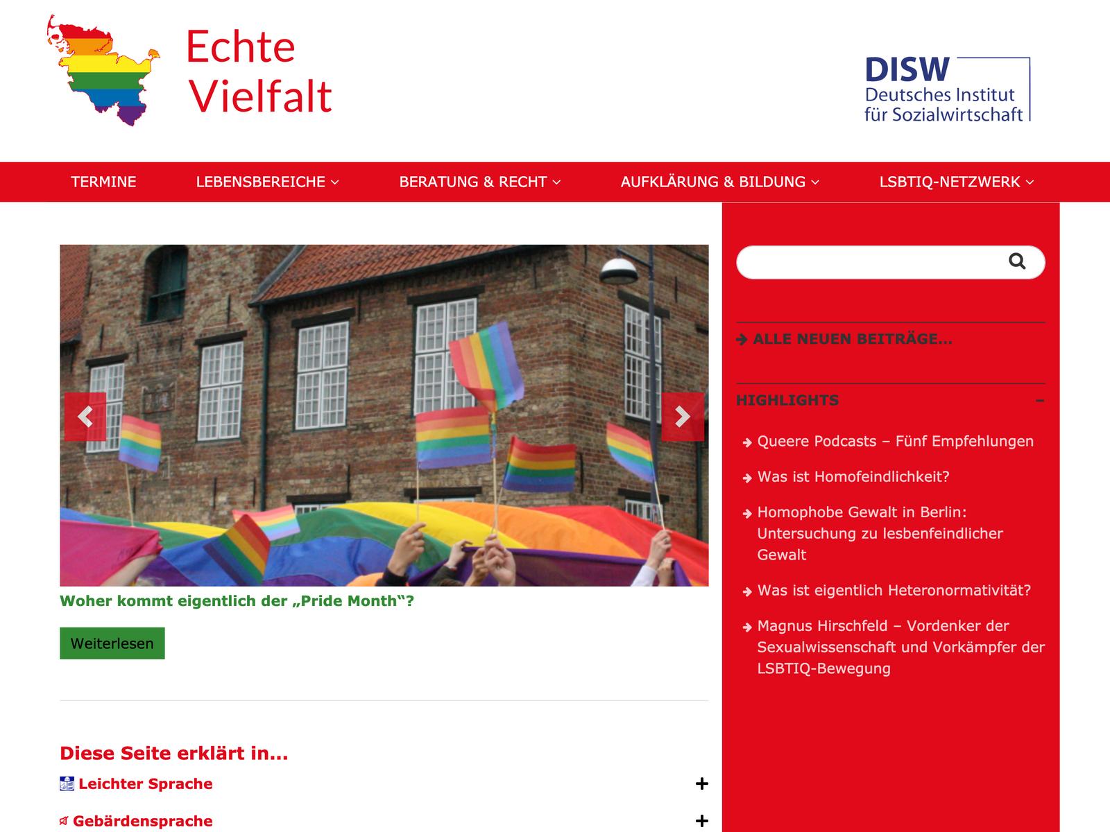 Webdesign und Wordpress-Entwicklung für Echte Vielfalt