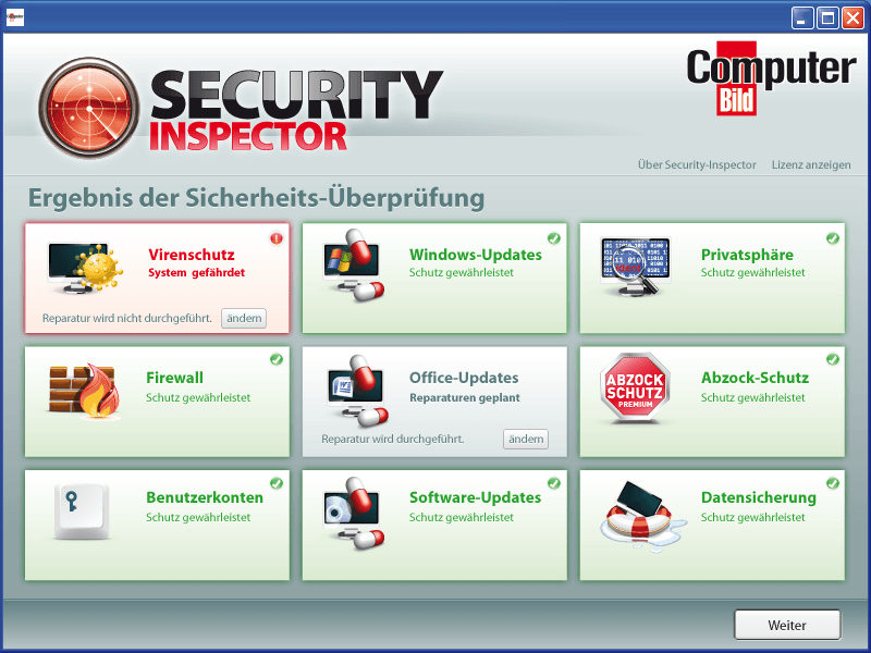 GUI-Design: ComputerBILD startet den Security Inspektor