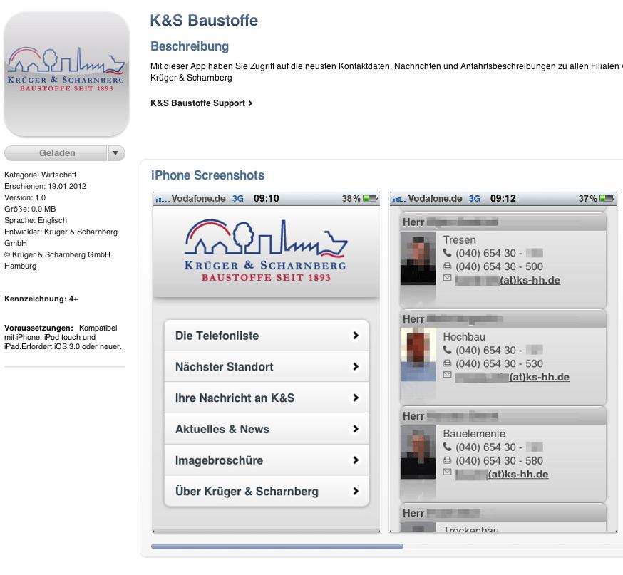Release der iPhone App für die Krüger und Scharnberg GmbH
