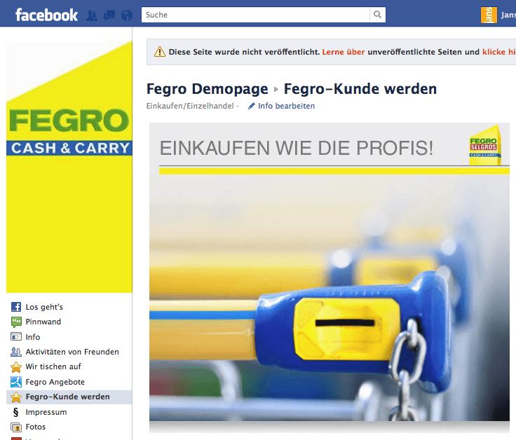Fegro/Selgros wählt Fangator für die ersten Schritte im Social Media auf Facebook