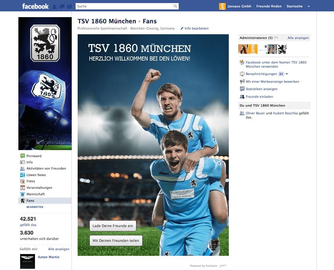 Bundesligist TSV 1860 München startet mit FanGator auf Facebook