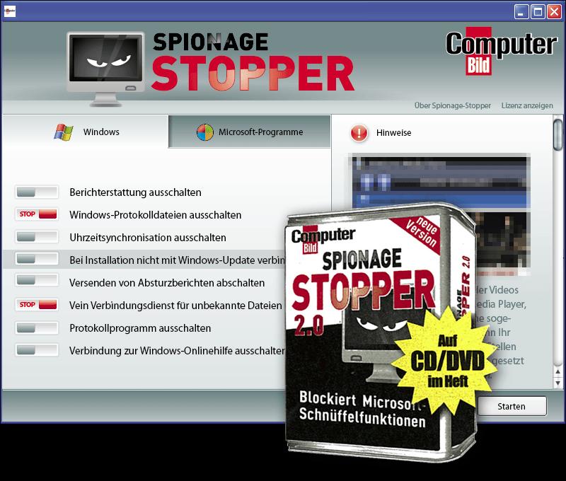 ASV / Computer Bild mit dem Spionage Stopper 2.0