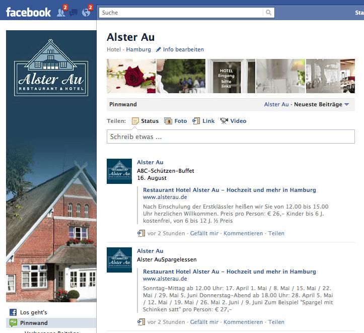 Social Marketing für Restaurant und Hotel Alster Au GmbH