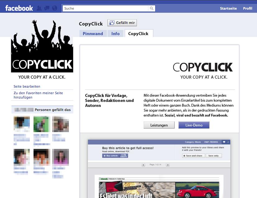 CopyClick - der virtuelle Facebook-Kiosk für Verlage und Markenartikler