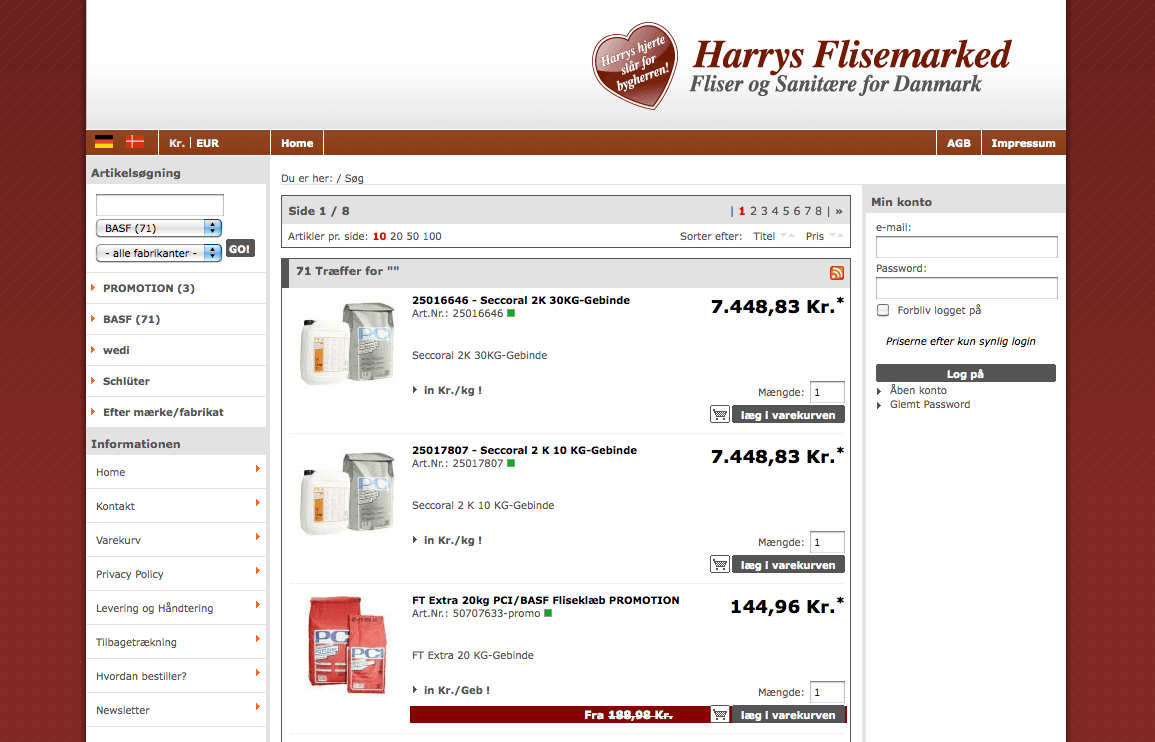 B2B Internetshop Harrys Flisemarked Dänemark
