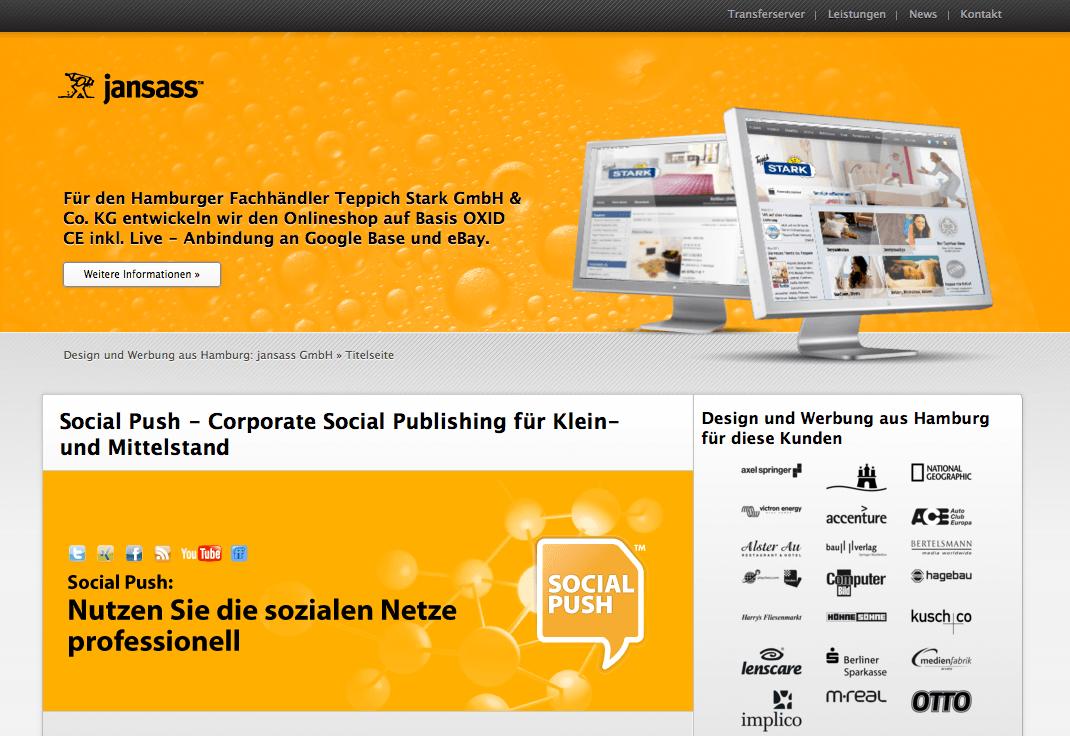 Werbung und Design aus Hamburg: www.jansass.com im neuen Design