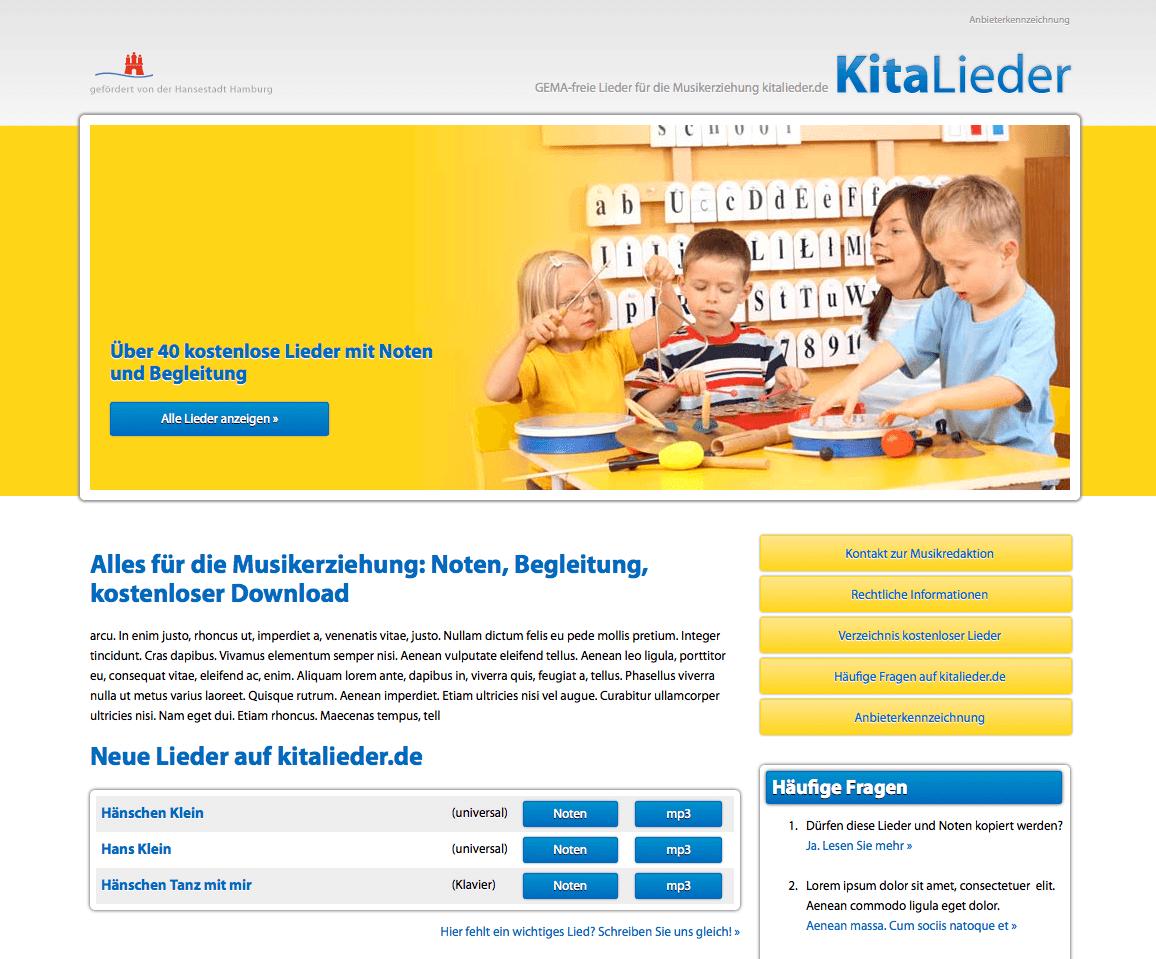 Webdesign und Typo3 Content Management kitalieder.de