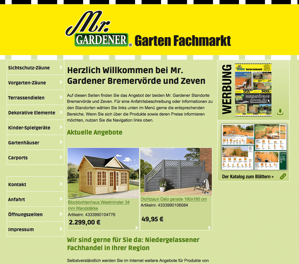 Webdesign und Produktsystem Mr. Gardener