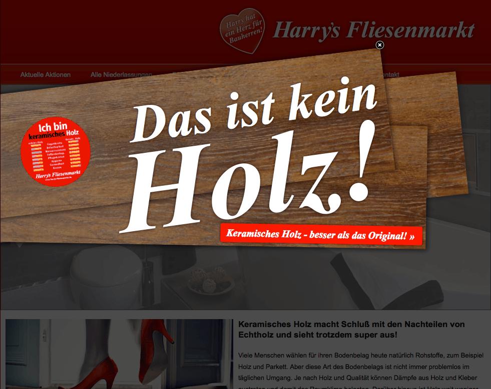Online-Kampagne für Harrys Fliesenmarkt