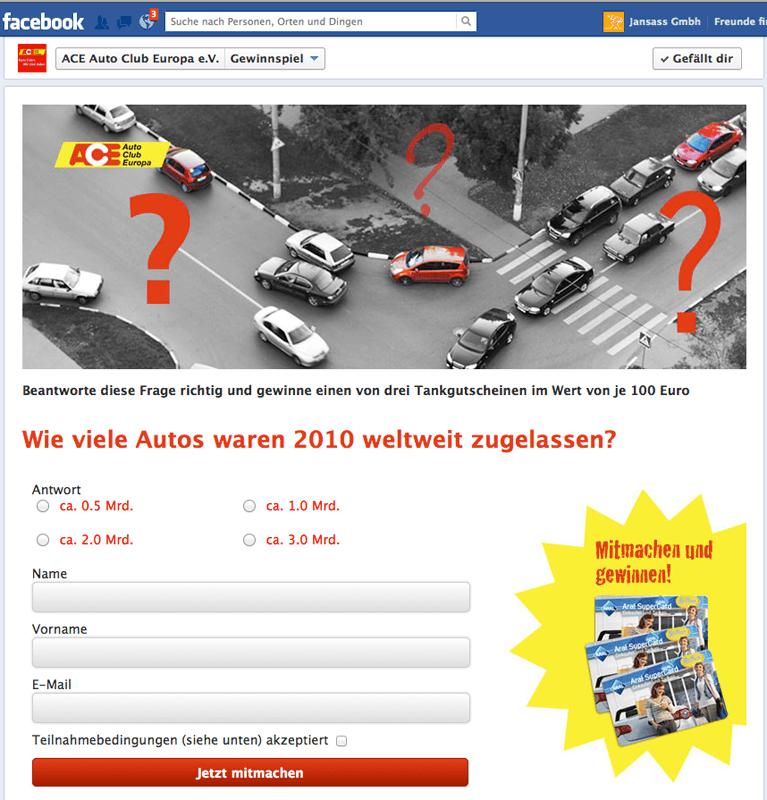 Facebook-App: Quiz für den ACE Auto Club Europa