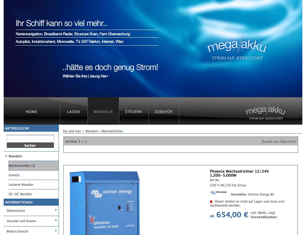 Art Direction, Website mit Shop und Kick-Off für Mega Akku Deutschland