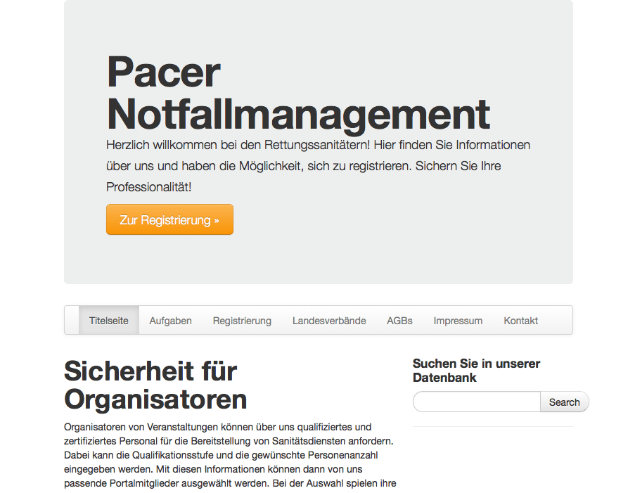 Online-System und Content Management für Pacer Notfallmanagement