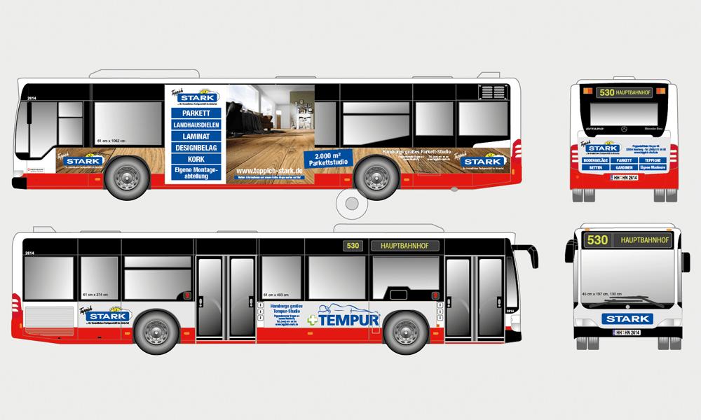 Buswerbung für Teppich Stark GmbH & Co KG