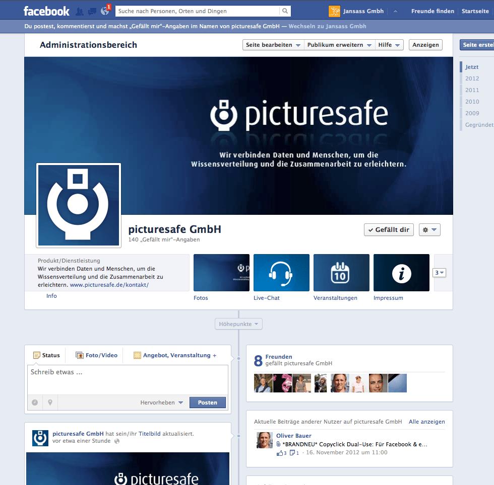 Professionelle Facebook-Unternehmensseite für picturesafe GmbH