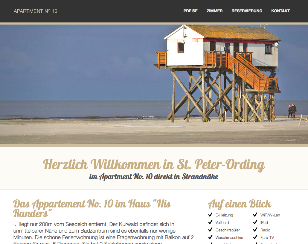 Responsive Website auf Basis Wordpress für Apartment No. 10