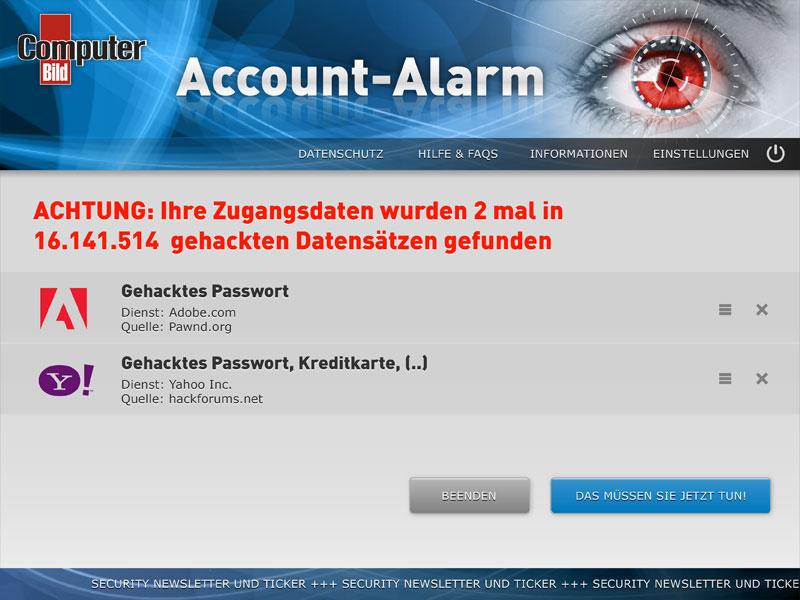 ComputerBILD Account-Alarm