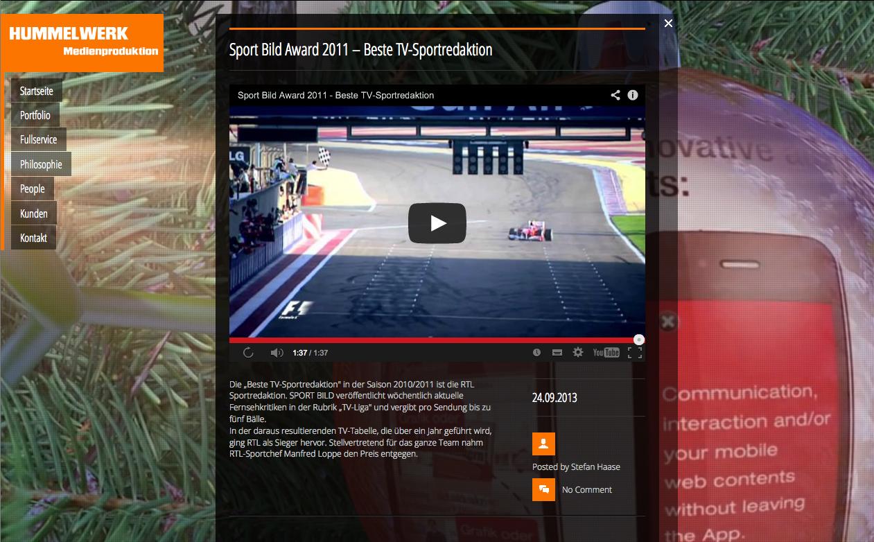 Video-Website für Hummelwerk Hamburg