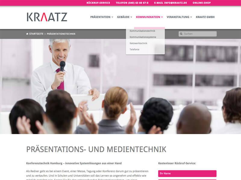 WordPress Entwicklung und Design für Kraatz Medientechnik Hamburg