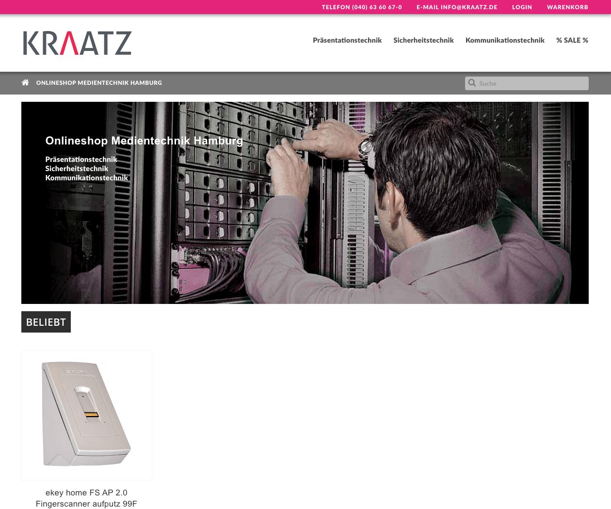 Prestashop-Shop für Kraatz Hamburg Medientechnik