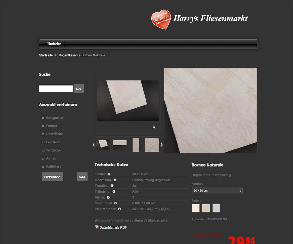 Prestashop-Shop für Harrys Fliesenmarkt