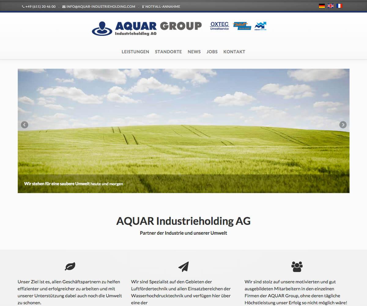 Typo3 Entwicklung und Design für Aquar Group