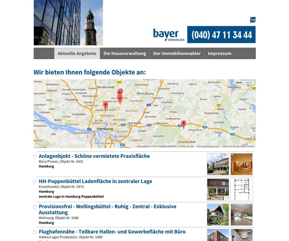 Typo3 Entwicklung und Design für Bayer GmbH Immobilienmakler