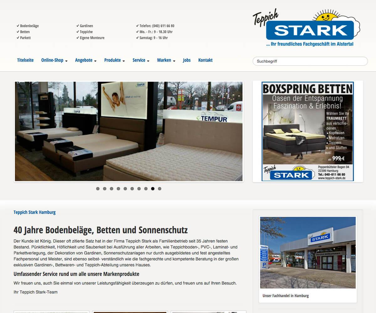 Typo3 Entwicklung und Design für Teppich Stark