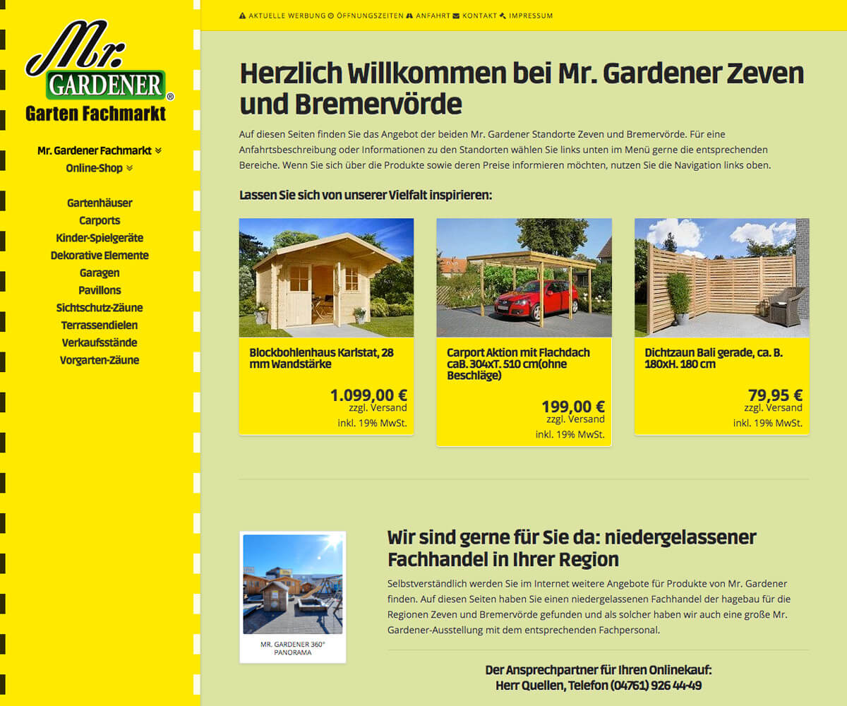 Woocommerce-Shop für Mr. Gardener