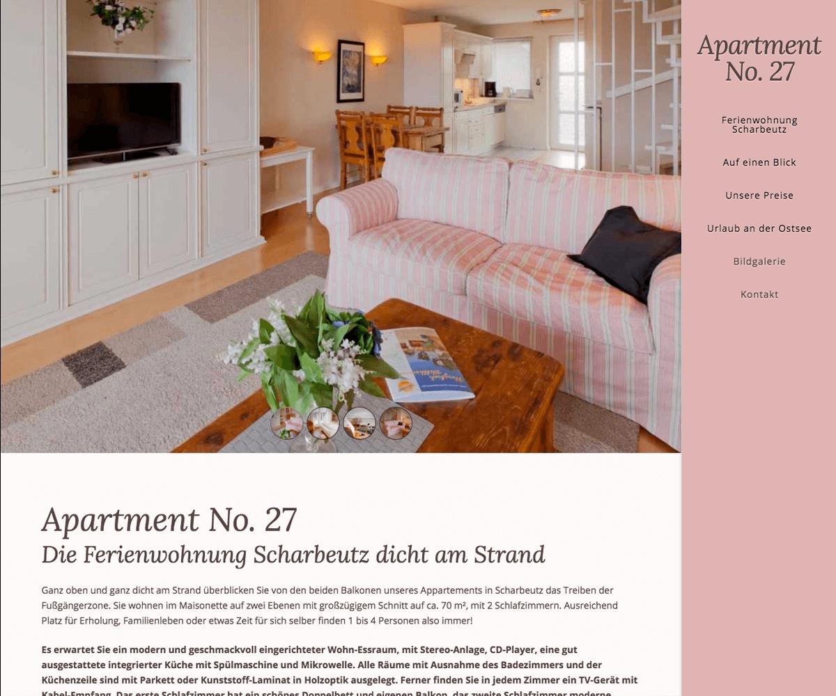 WordPress Entwicklung und Design für Apartment No. 27