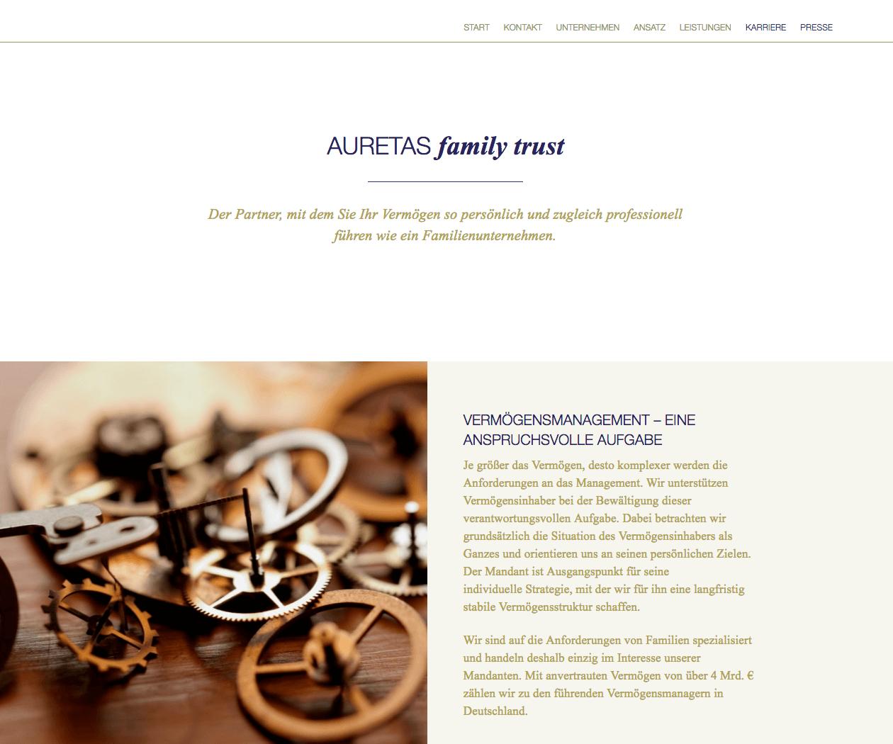 WordPress Entwicklung und Design für Auretas