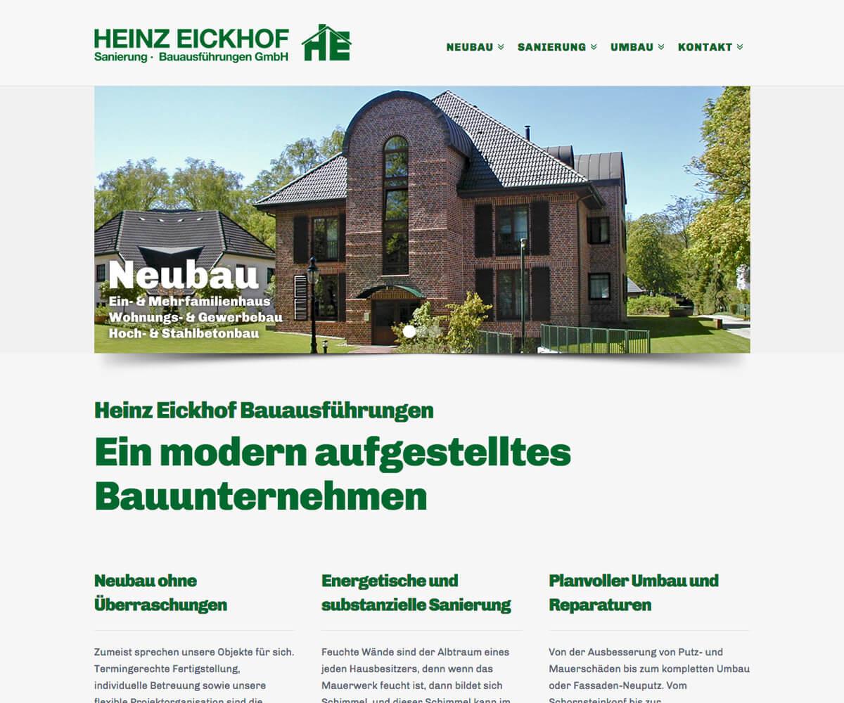 WordPress Entwicklung und Design für Heinz Eickhof Bauausführungen