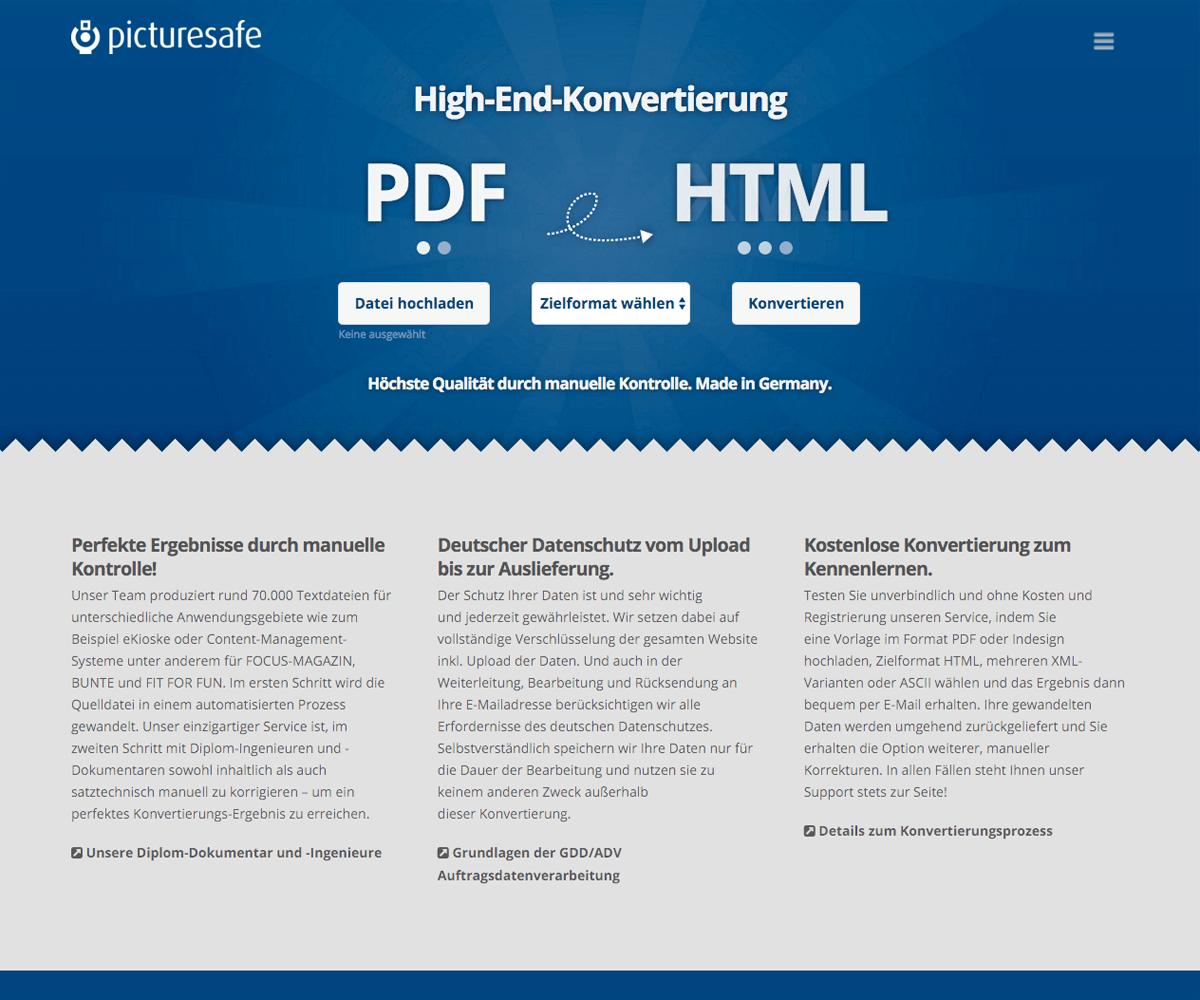 WordPress Entwicklung und Design für High End Konvertierung / Picturesafe