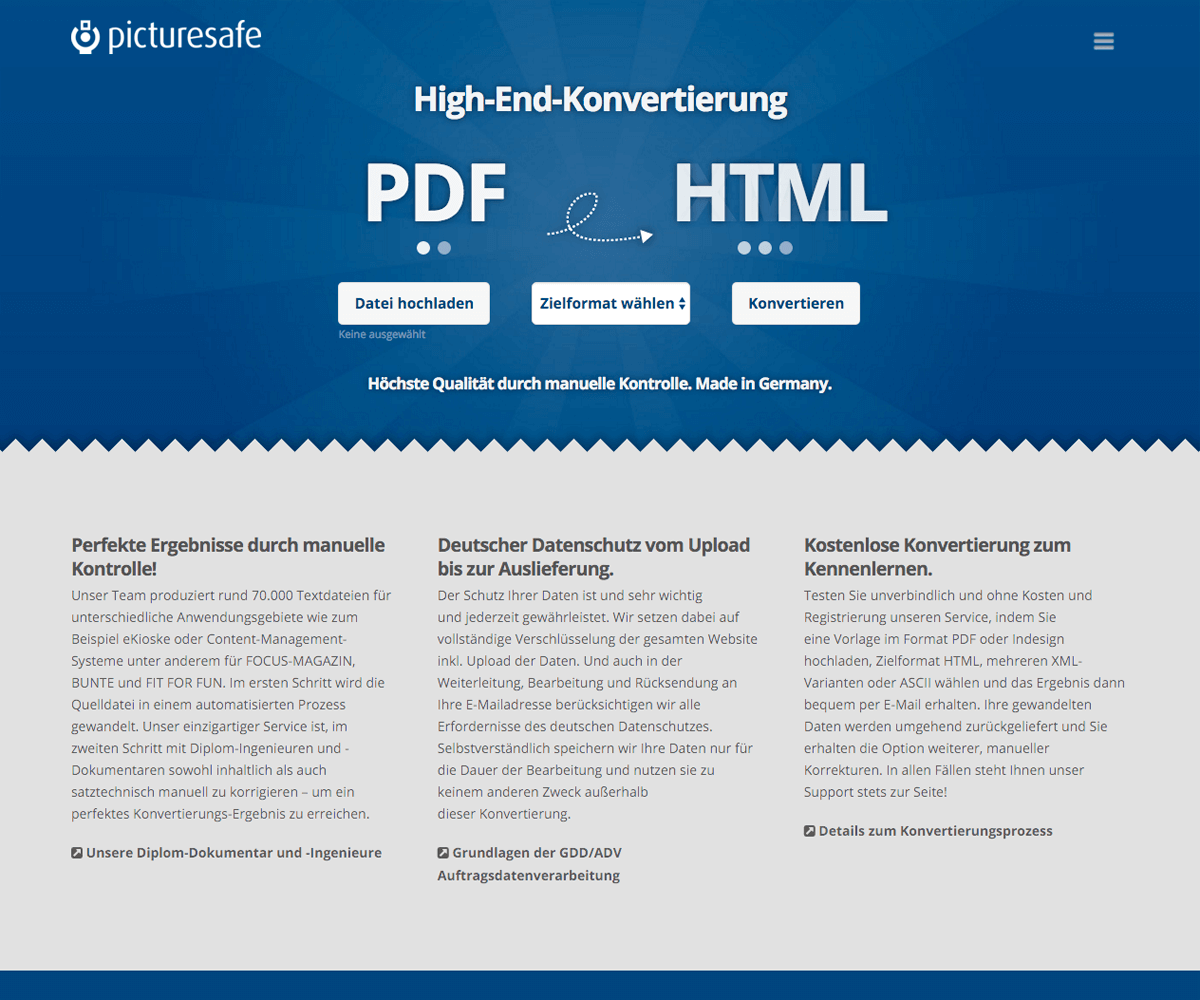 WordPress Entwicklung und Design für High End Konvertierung / Picturesafe