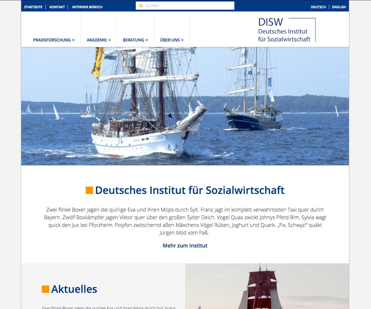 WordPress Entwicklung und Design für DISW Deutsches Institut für Sozialwirtschaft