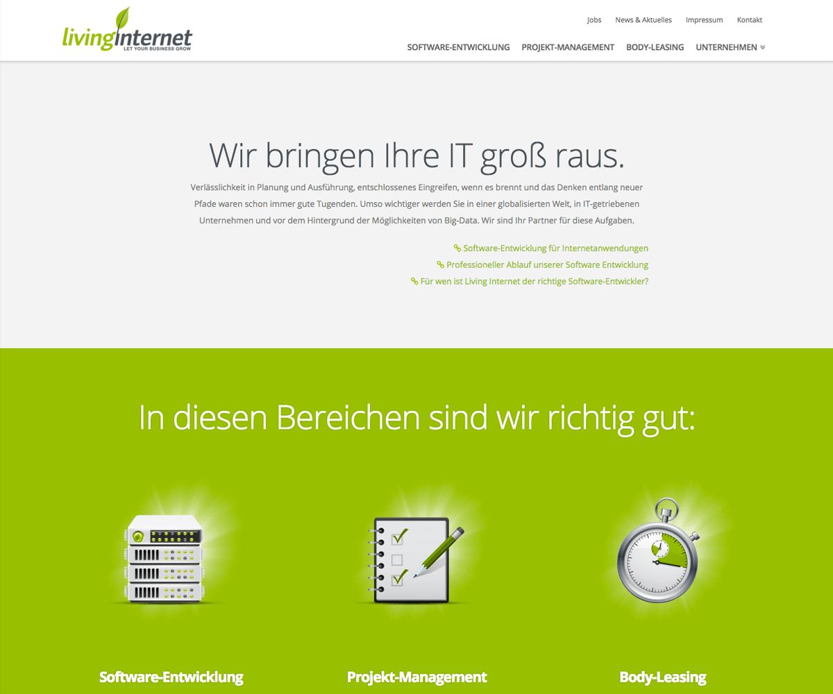 WordPress Entwicklung und Design für Living Internet