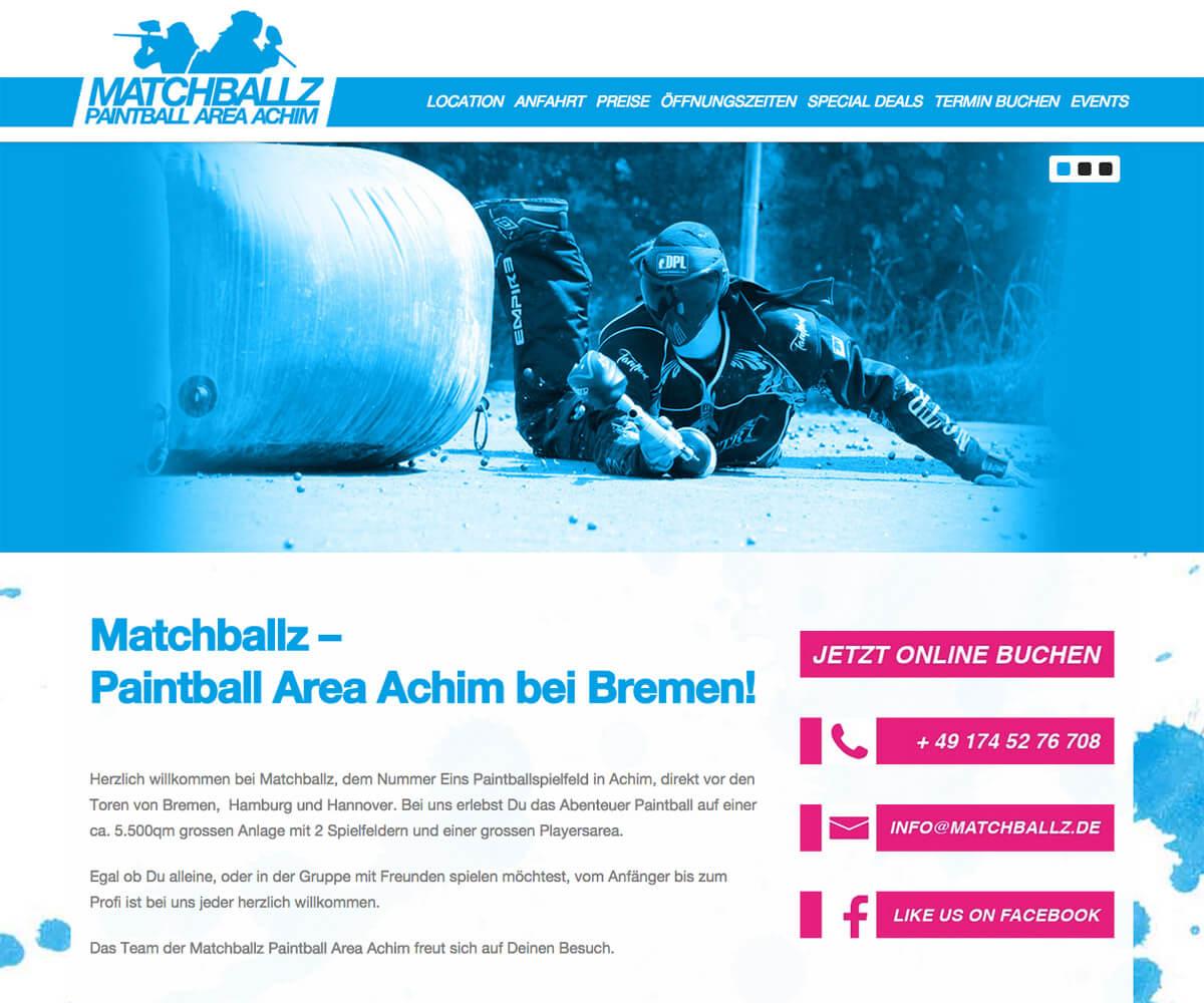 WordPress Entwicklung und Design für Matchballz Paintball