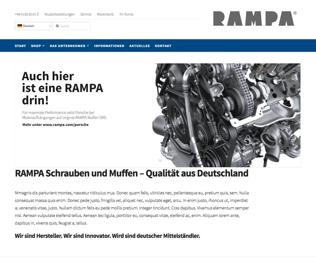 Prestashop-Shop und Wordpress-Hybrid für RAMPA H. Brügmann