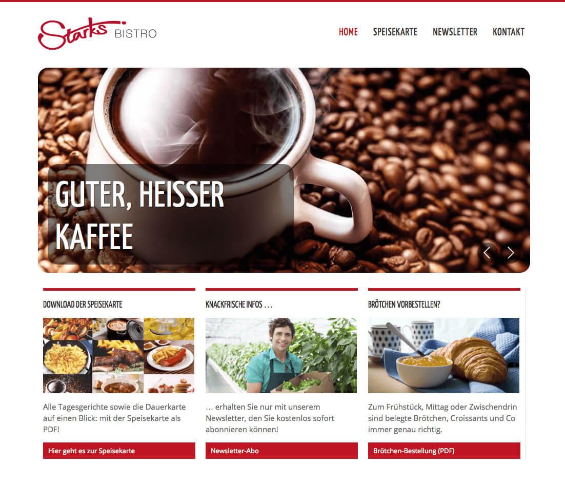 WordPress Entwicklung und Design für Starks Bistro