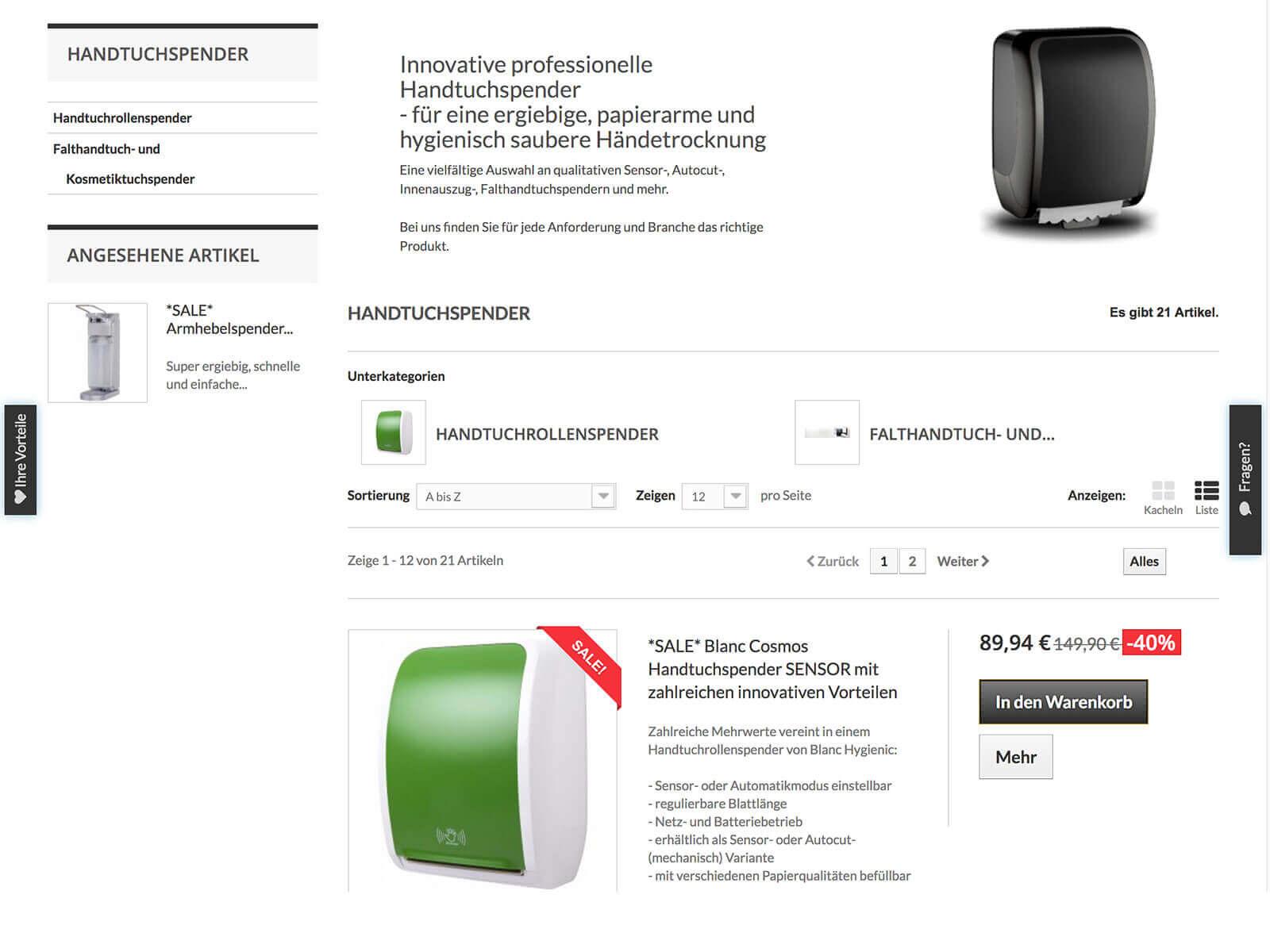 Digital Marketing mit Google Adwords und Amazon für Blanc Hygienic