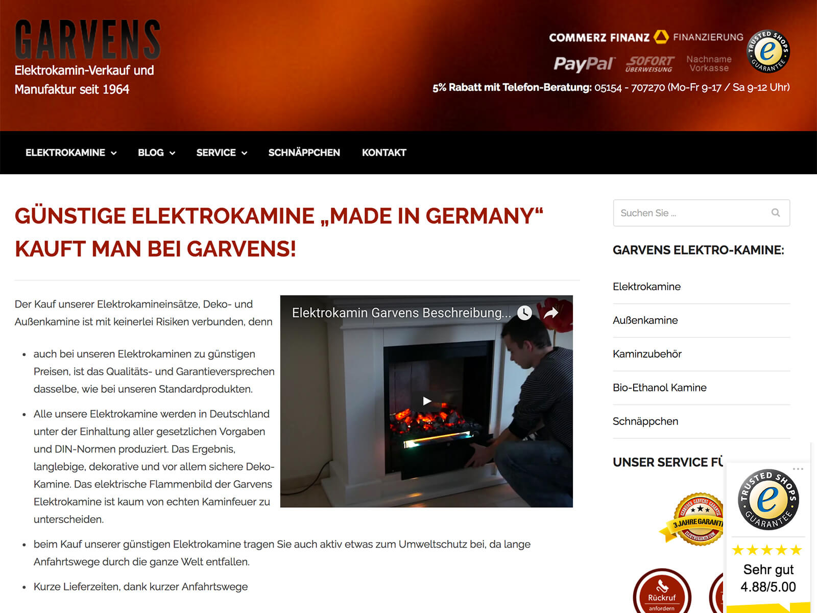 Soft-Relaunch Elektrokamine Garvens auf Wordpress und Woocommerce