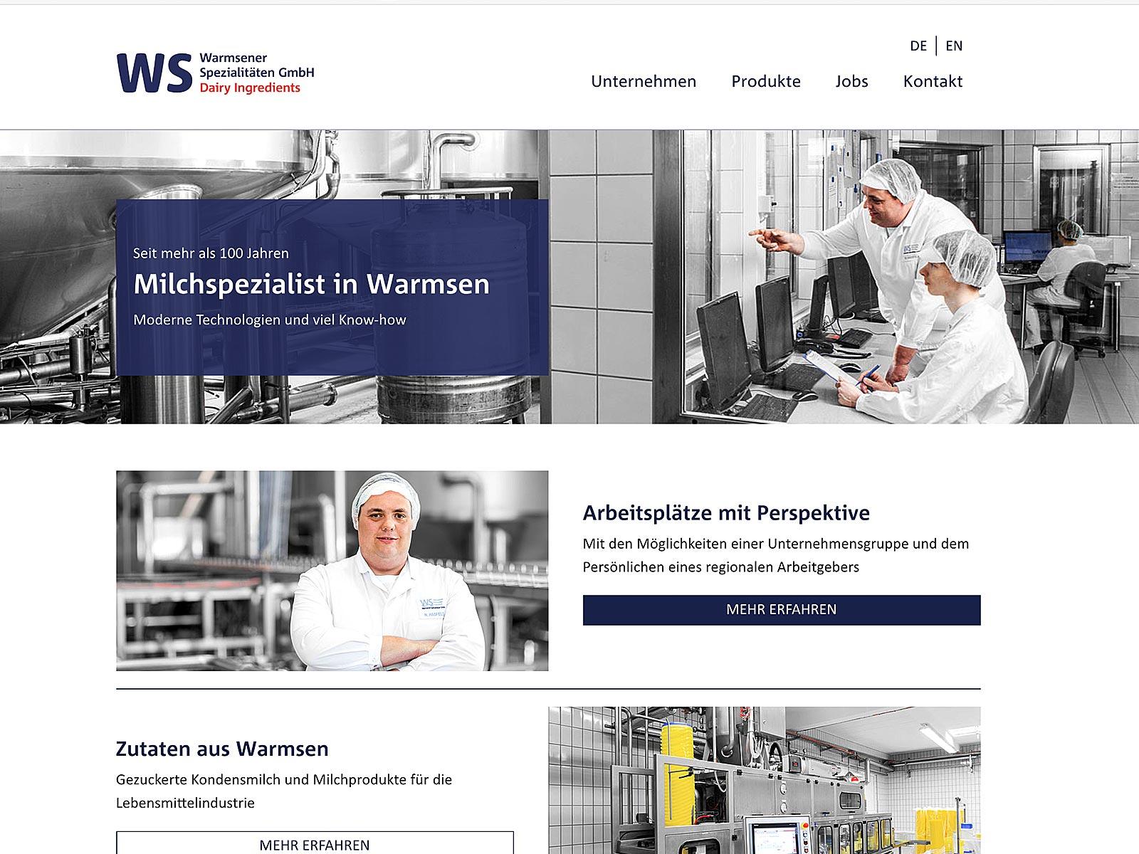 Typo3-Entwicklung für die Warmsener Spezialitäten GmbH