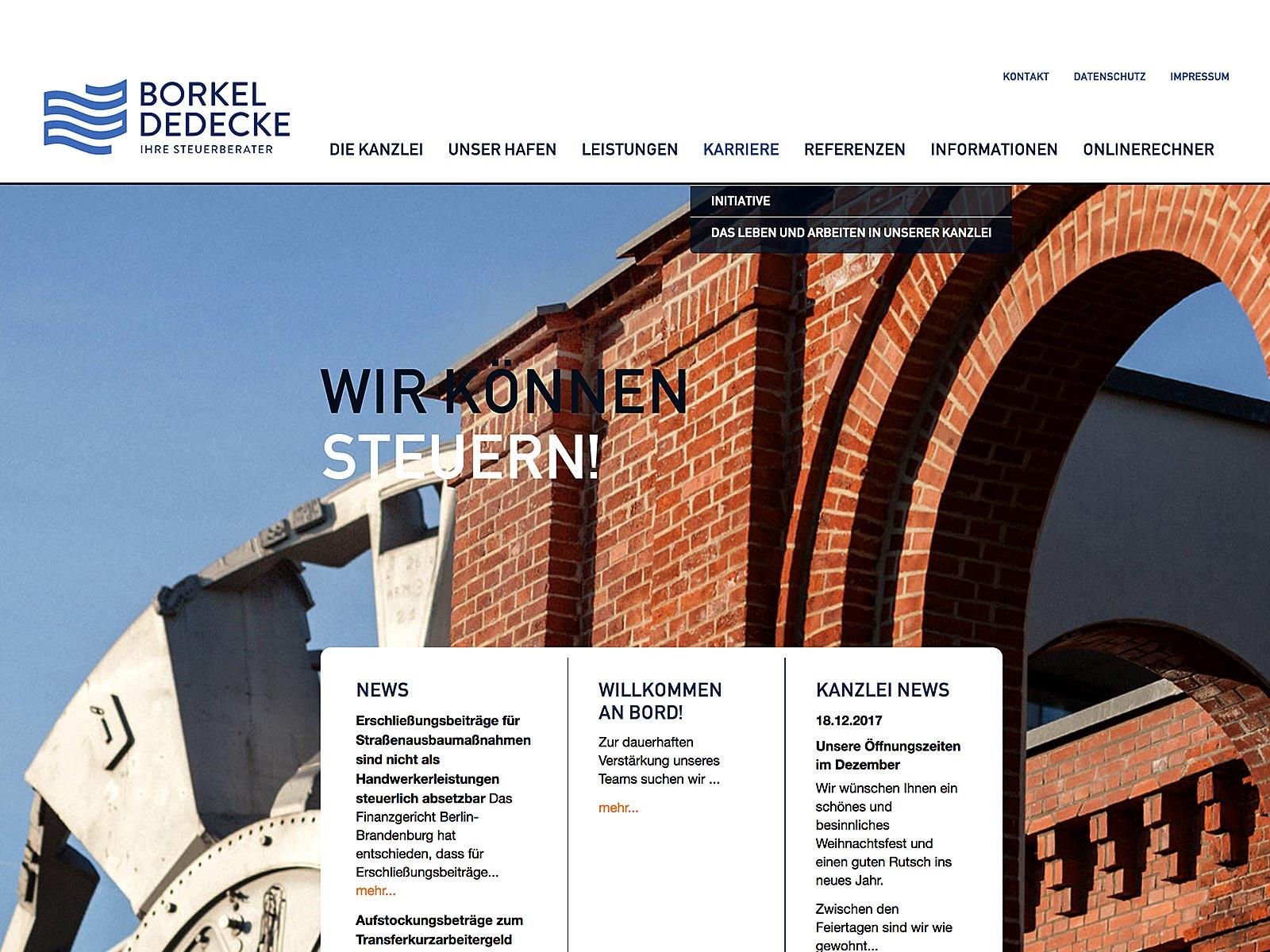 Typo3-Design und Support für Rechtsanwälte Borkel + Dedeke