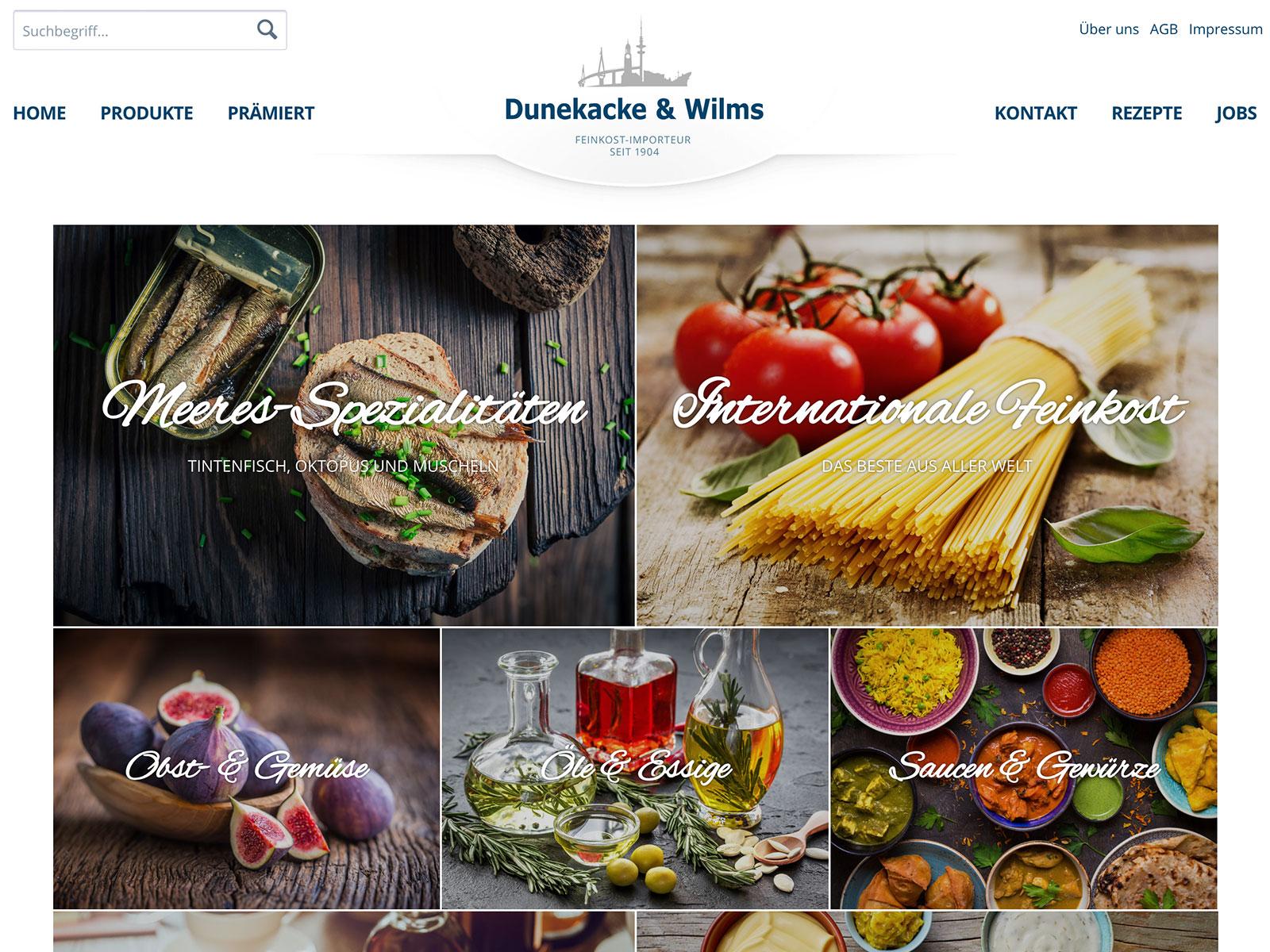 Shopware Design und Entwicklung für Dunekacke & Wilms Feinkost